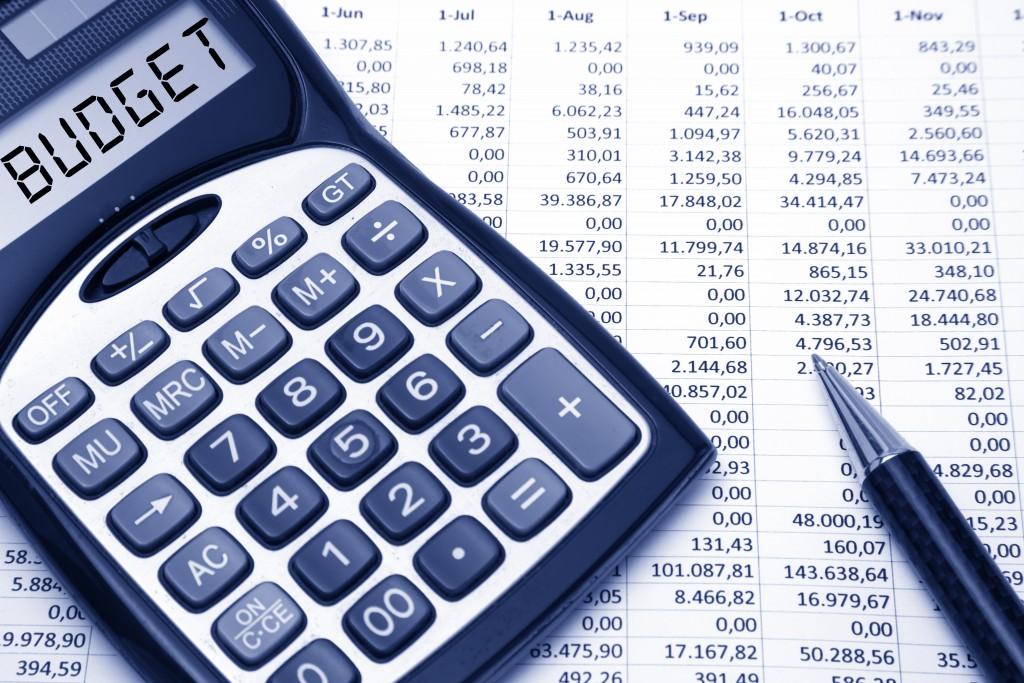 Budget text on calculator