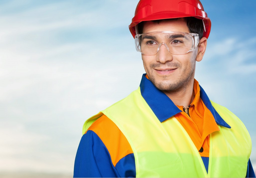 worker wearing protective gear for work