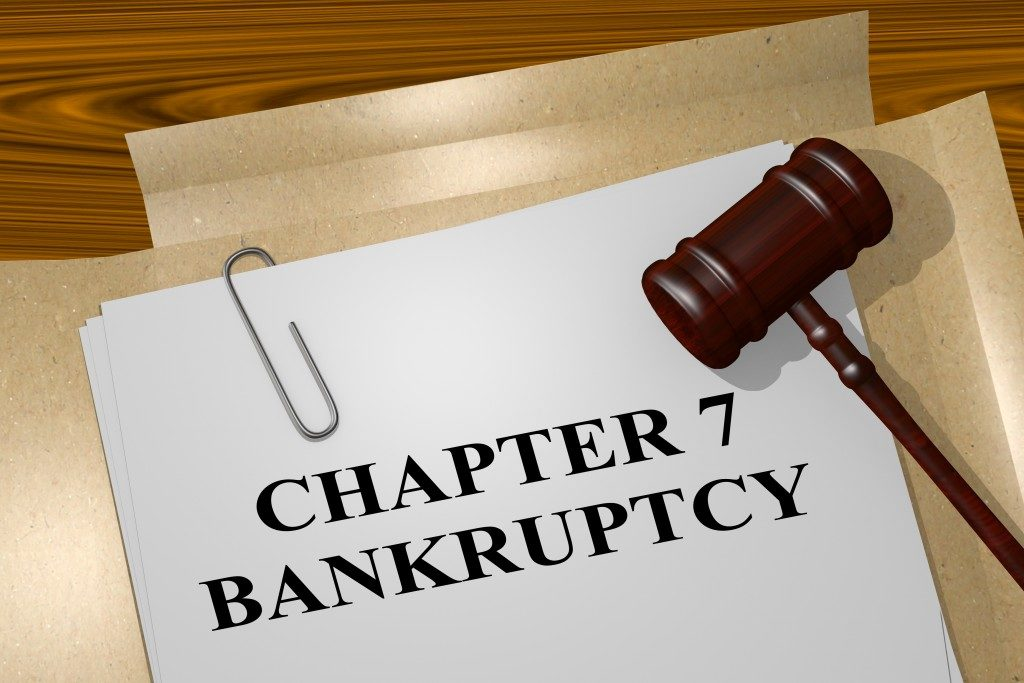Bankruptcy file with wooden gavel