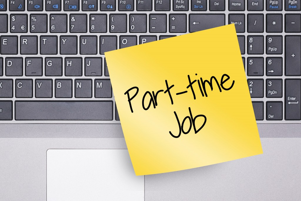 part-time job written in a yellow sticky note