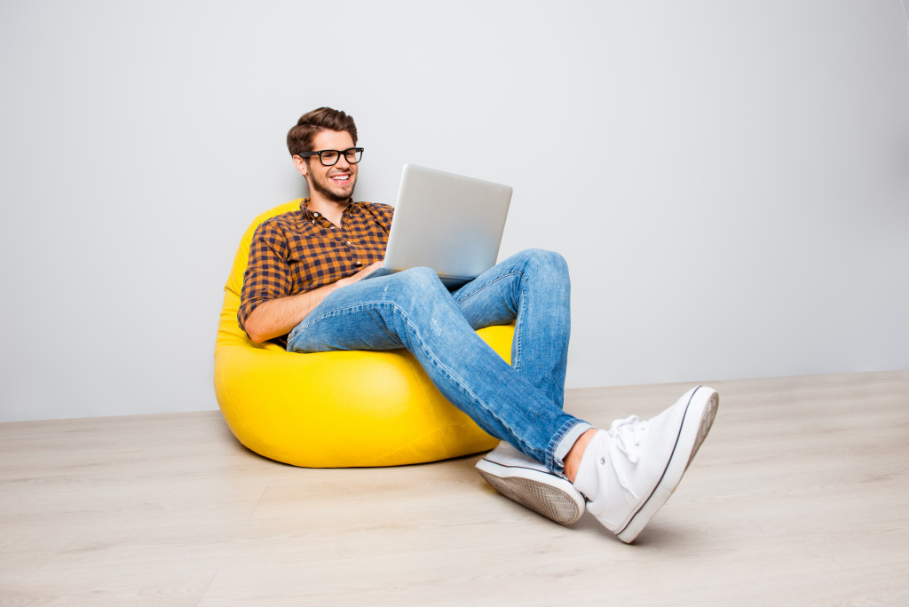 man working on a beanbag